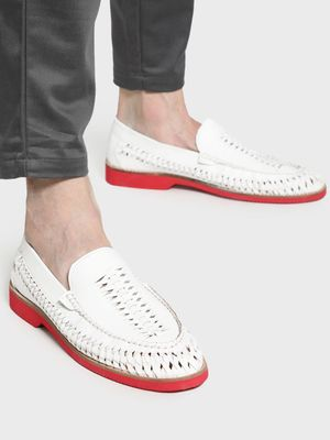 Bolt Of The Good Stuff Basket Weave Contrast Sole Loafers