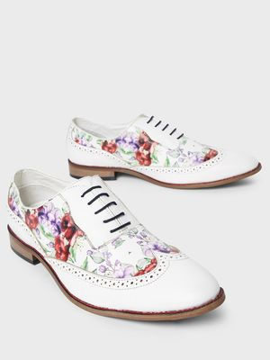 Bolt Of The Good Stuff Floral Print Brogue Derby Shoes