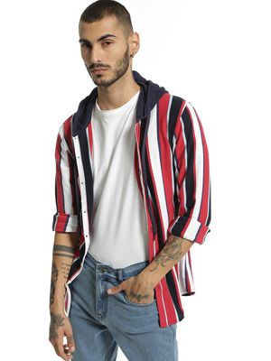 Garcon Pique Yarn Dyed Striped Hooded Shirt