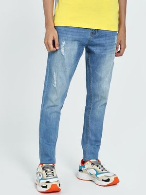 TRUE RUG Light Wash Distressed Slim Jeans