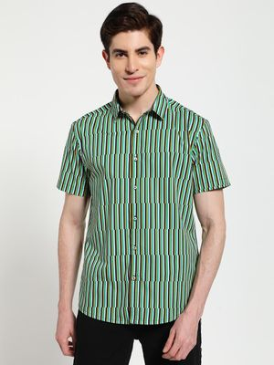 TRUE RUG Broken Vertical Stripe Print Shirt