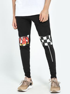 Kultprit Text Print Checkerboard Panel Slim Joggers