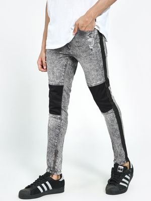 Kultprit Acid Wash Panelled Distressed Skinny Jeans