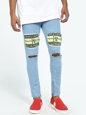 Kultprit Light Wash Distressed Patchwork Skinny Jeans