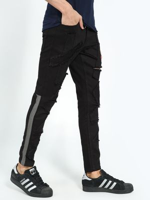 Kultprit Distressed Patch Side Tape Skinny Jeans