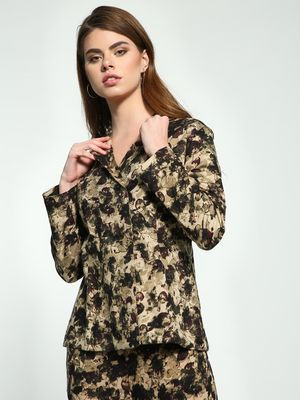 Ri-Dress Abstract Floral Print Double-Breasted Blazer