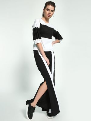 Beyond Clouds Contrast Stripe Split Hem Trousers