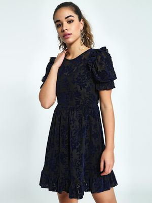 KOOVS Floral Velour Mesh Skater Dress
