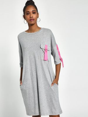 Sbuys Contrast Tape T-Shirt Dress