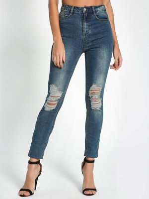Missguided Ripped Mid Wash Skinny Jeans