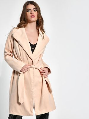 Missguided Funnel Neck Belted Coat