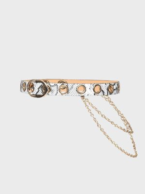 Origami Lily Snakeskin Print Chain Detail Belt