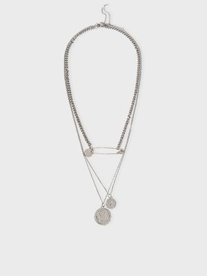 Origami Lily Silver Victorian Coin Layered Necklace