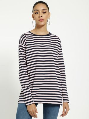 Blue Saint Horizontal Stripe Longline T-Shirt