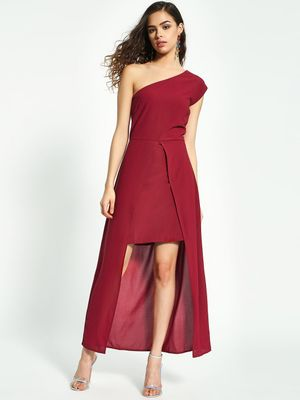 Oliv One Shoulder Front-Slit Maxi Dress