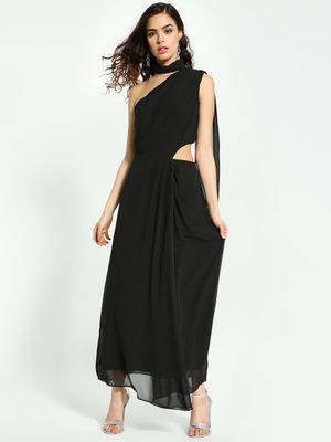 Oliv Choker Neck Cut-Out Maxi Dress