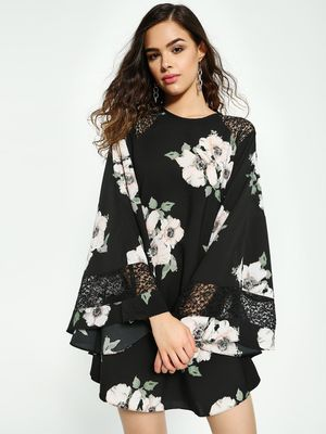 Oliv Floral Print Kimono Sleeve Shift Dress