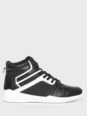 KOOVS Contrast Panel High-Top Sneakers