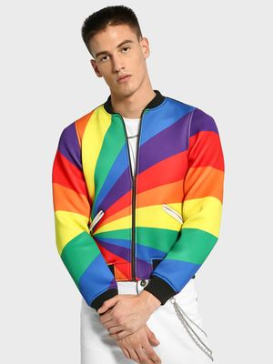 Manish Arora Paris X KOOVS Rainbow Colour Block Bomber Jacket