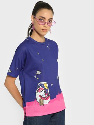Manish Arora Paris X KOOVS Tuzki Print Colour Block T-Shirt