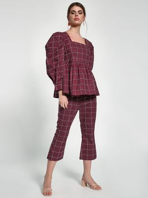 Closet Drama Grid Check Print Cropped Trousers