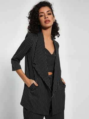 Closet Drama Pinstripe Longline Tailored Blazer