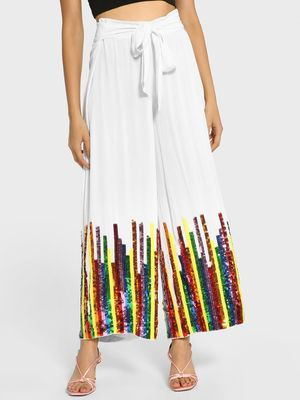 Manish Arora Paris X KOOVS Rainbow Sequin Belted Palazzo Pants