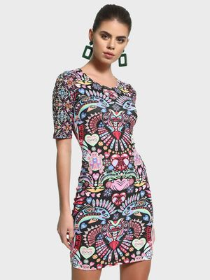 Manish Arora Paris X KOOVS Digital Print Embellished Bodycon Dress