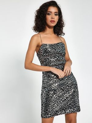 KOOVS Leopard Sequin Velour Shift Dress