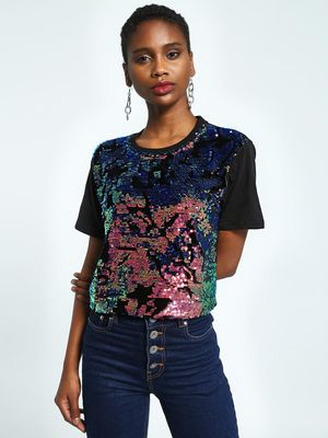 KOOVS Holographic Sequin Crop T-Shirt