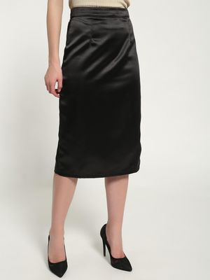 KOOVS Satin High-Waist Midi Skirt
