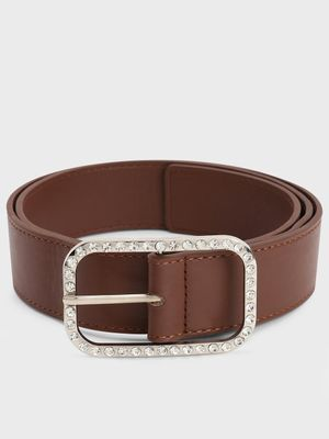 KOOVS Diamante Embellished Rectangular Buckle Belt