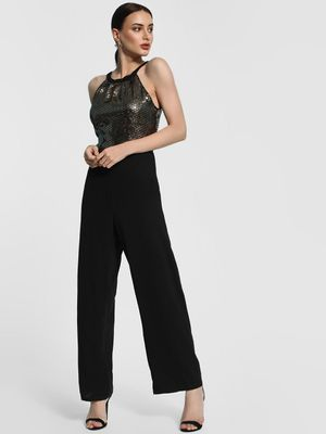KOOVS Sequinned Round Neck Jumpsuit