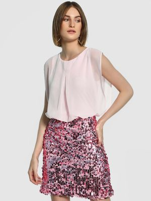 KOOVS Sequinned Blouson Shift Dress