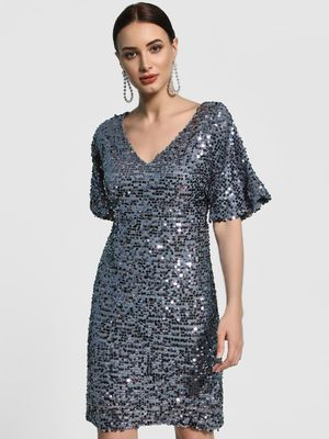 KOOVS Sequinned Flared Sleeve Shift Dress