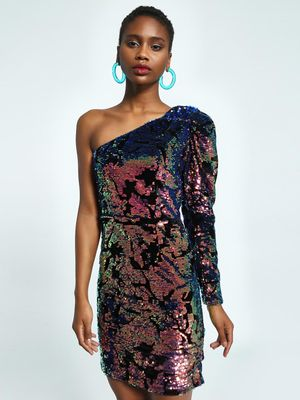 KOOVS Velvet Sequinned One Shoulder Bodycon Dress