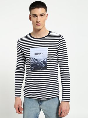 Blue Saint Horizontal Stripe Placement Patch T-Shirt