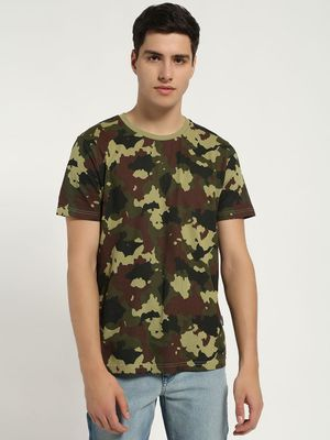 Blue Saint Camo Print Short Sleeve T-Shirt