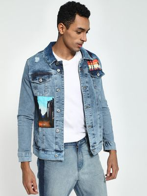 Blue Saint City Life Print Patchwork Denim Jacket