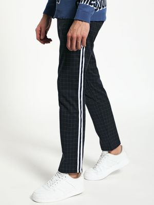Blue Saint Grid Check Side Tape Trousers