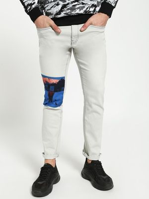 Blue Saint Printed Patch Slim Jeans