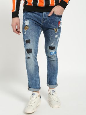 Blue Saint Badge Applique Distressed Slim Jeans