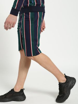 Blue Saint Vertical Multi-Stripe Slim Shorts