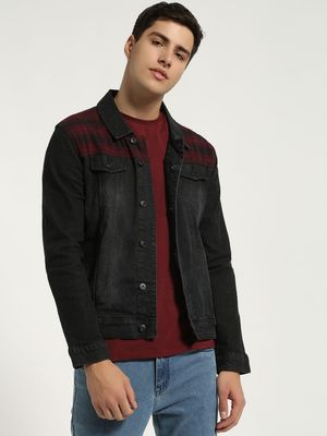 Blue Saint Check Print Panel Denim Jacket