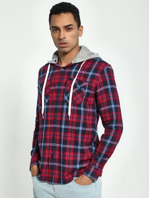 Blue Saint Plaid Check Hooded Shirt