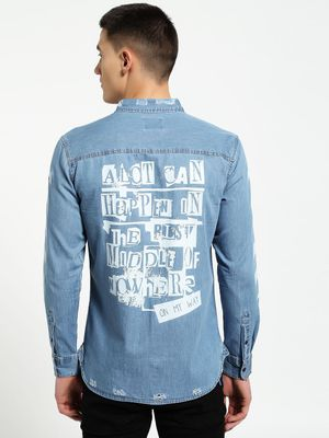 Blue Saint Distressed Slogan Print Denim Shirt