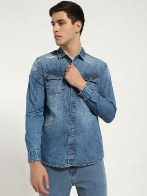Blue Saint Acid Wash Distressed Denim Shirt