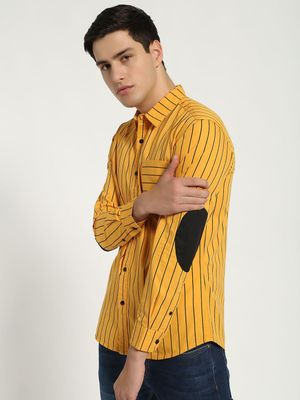 Blue Saint Elbow Patch Vertical Stripe Shirt
