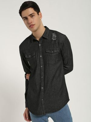 Blue Saint Stripe Print Distressed Denim Shirt