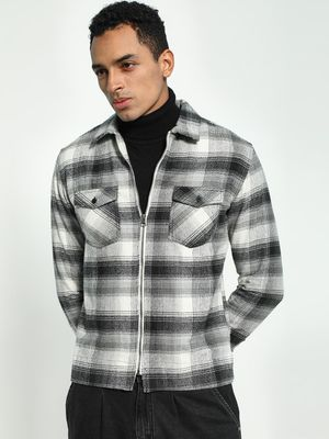Blue Saint Woven Check Zip-Up Shirt